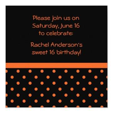 Black with Orange Polka Dots Party Invite