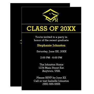 Black Yellow Mortarboard Simple Graduation Party Invitation