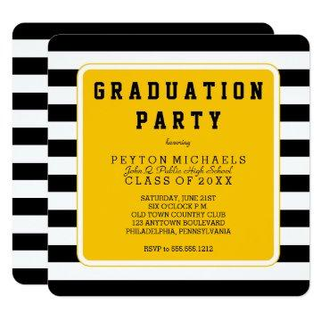 Black | Yellow Sporty Striped Graduation Party Card