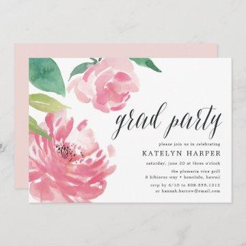 Blooming Peony | Graduation Party Invitation