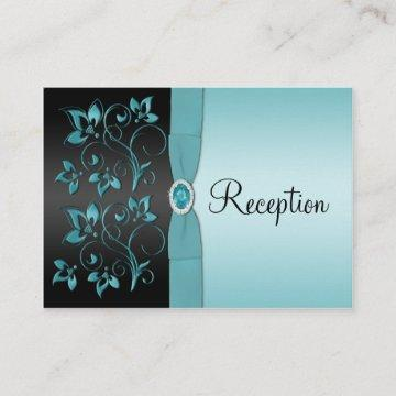 Blue and Black Floral Reception Enclosure Card