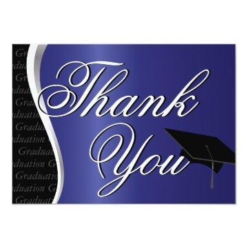 Blue and Black Graduation Thank You Card