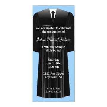 Blue and Black Mens Graduation Invitation