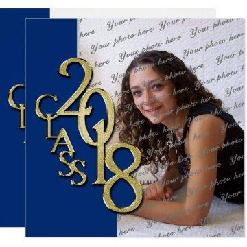 Blue and Gold 2018Graduation Invitation