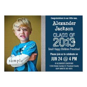 Blue and Gray Preschool or Kindergarten graduation Invitation
