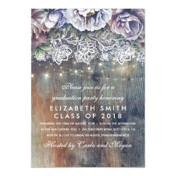 Blue and Maroon Rustic Floral Graduation Party Card