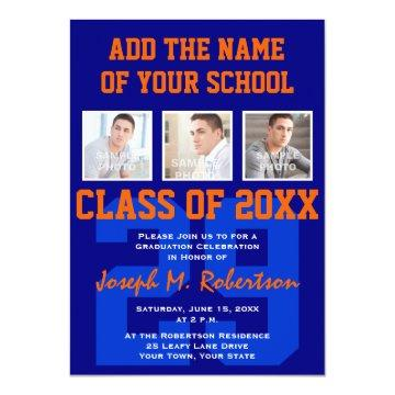 Blue and Orange Team School Athlete Graduation Invitation