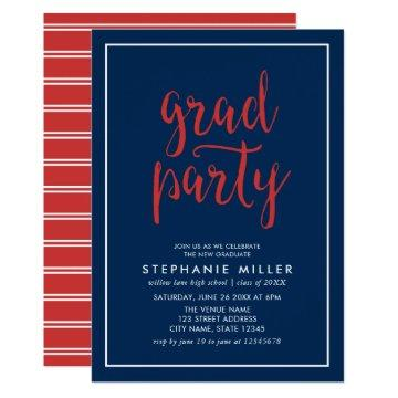Blue and Red Script Grad Party Invitation