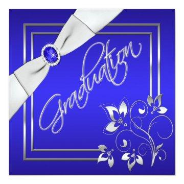 Blue and Silver Floral Photo Graduation