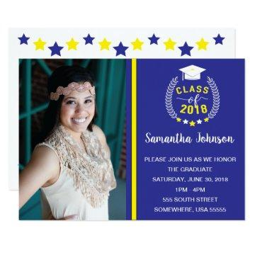 Blue and Yellow Graduation Party Invite