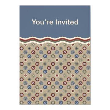 Blue Beige and Burgundy Bullseyes Invite