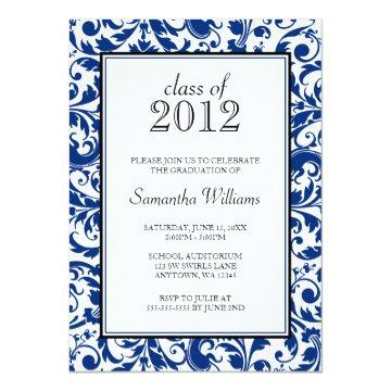 Blue Black Swirl Damask Graduation Announcement