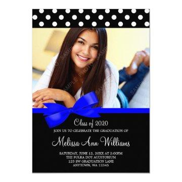 Blue Bow Polka Dots Photo Graduation Announcement