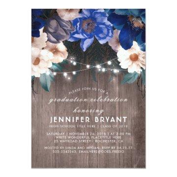 Blue Floral String Lights Rustic Graduation Party Card