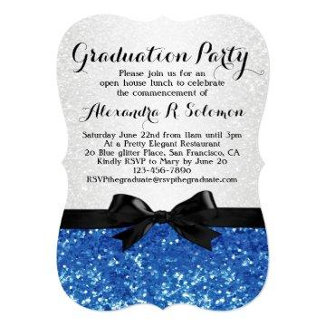 Blue Glitter-look Bow Graduation Party