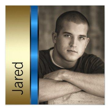 Blue Gold Boys Photo Graduation Announcements