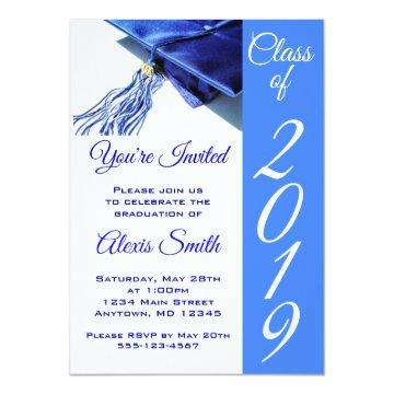 Blue Graduation Cap and Tassel Invitation