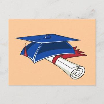 Blue graduation hat with a scroll and a red band announcement postcard