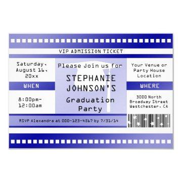 Blue Graduation or Party Admission Ticket Card