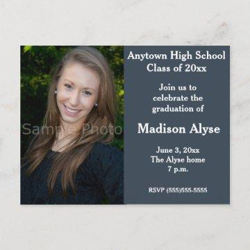 Blue Gray Photo Graduation Invitation Postcard
