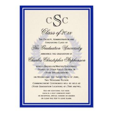 Blue Monogram Laurel Classic College Graduation Invitation