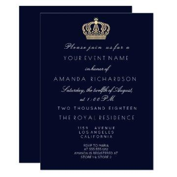 Blue Navy Golden Crown Royal Glitter 16th Bridal Invitation