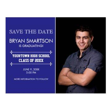 Blue Personalized Photo Graduation Save the Date Postcard