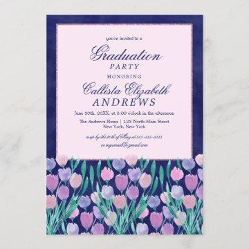 Blue Pink Tulips Floral Watercolor Graduation Invitation