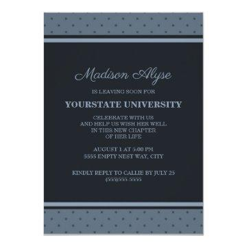 Blue Polka Dots College Trunk Party Invitation