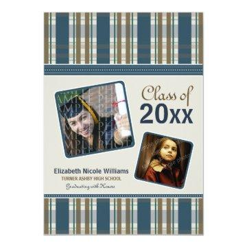 Blue Preppy Plaid Custom Graduation Announcement
