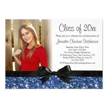 Blue Sparkle-look Ribbon Bow Photo Graduation Card