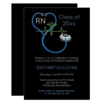 Blue Stethoscope EKG Nursing Graduation Party Invitation