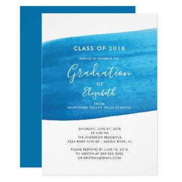 Blue Watercolor Graduation Party