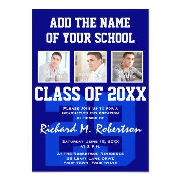Blue White Sporty Guy's Graduation Varsity Number Card