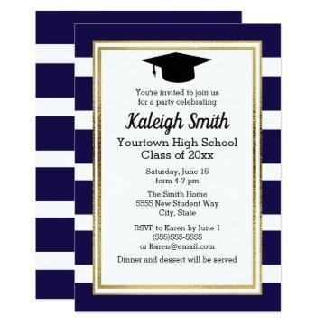Blue White Striped with Graduation Cap Party Invitation