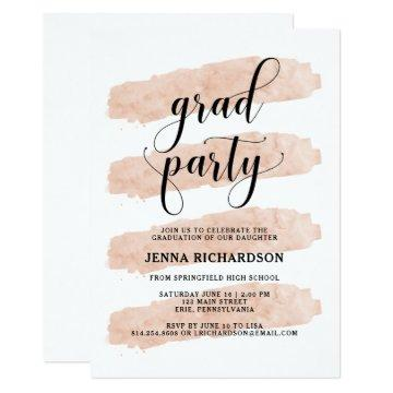 Blush Abstract Stripes | Graduation Party Card