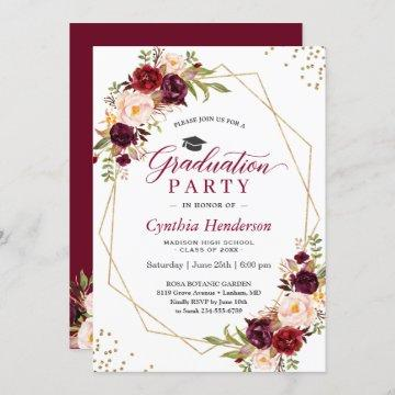 Blush Burgundy Floral Gold Frame Graduation Party Invitation