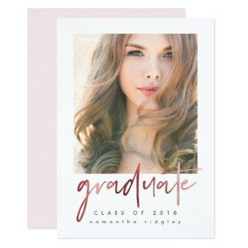 Blush Photo Graduation Party with Typography Invitation