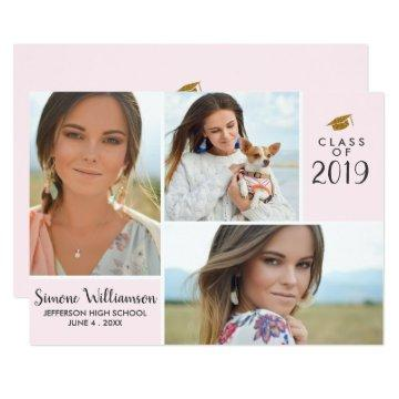 Blush Pink Class of 2019 Graduation Photo Collage Invitation