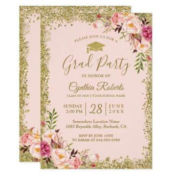 Blush Pink Gold Glitters Floral Graduation Party Card