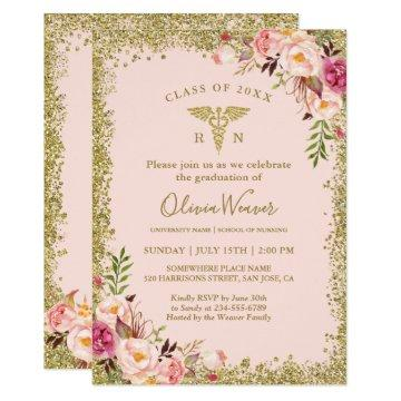 Glitter graduation invitations graduation invitations blush pink gold glitters nursing school graduation filmwisefo