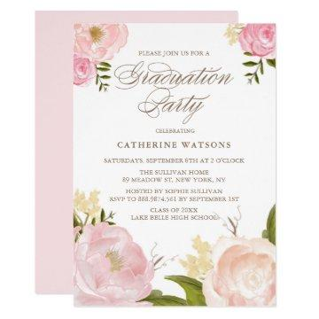 Blush Watercolor Flowers Graduation