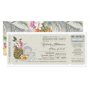 Boarding Pass | Pineapple | Beach Graduation Party Card