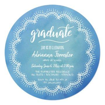 Bohemian Blue Watercolor Graduate Typography Card