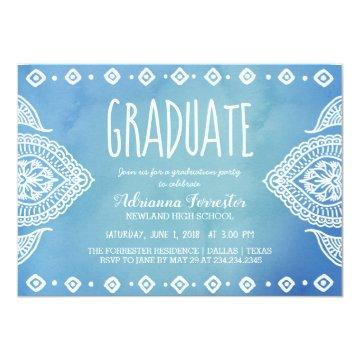 Bohemian Blue Watercolor Mandala | Graduate Card