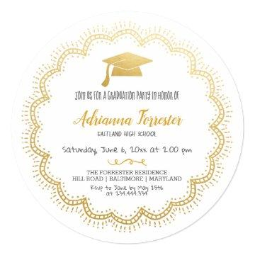Bohemian Chic Faux Gold Foil Graduate Hat Invitation