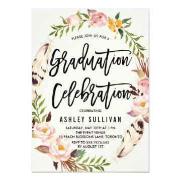 Bohemian Feathers & Floral Wreath Graduation Party Invitation