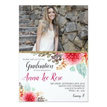 Bohemian Floral Gold Graduation Photo Invite