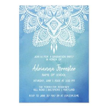 Bohemian Mandala Blue Watercolor Graduation Party