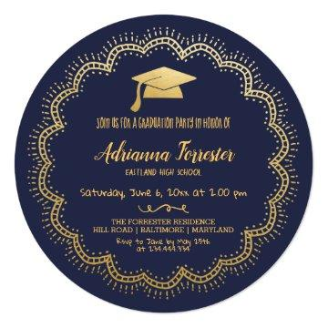 Bohemian | Navy Blue Faux Gold Foil Graduate Hat Invitation